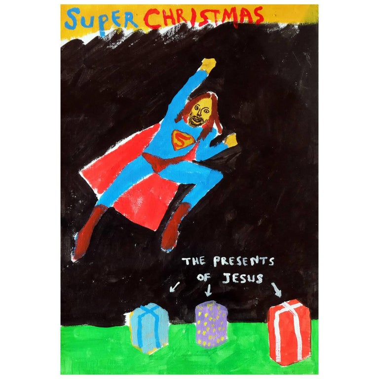 'A Super Christmas' Portrait Painting by Alan Fears Acrylic on Paper For Sale
