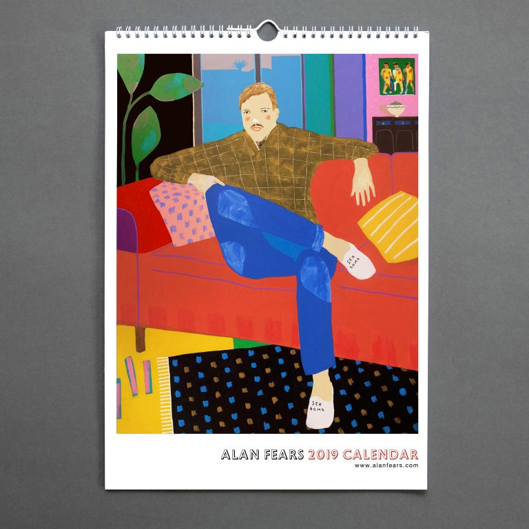A3 ringbinder calendar with 12 pages printed on 160gsm satin paper.  The calendar features 12 of Alan's most recent paintings, including Playing with Roland, Boyfriend Material and Weekend Socks, in his usual vibrant and humorous style.  Alan