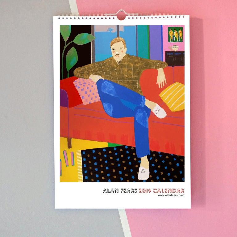 English Alan Fears 2019 A3 Wall Calendar Figurative Painting Pop Art For Sale