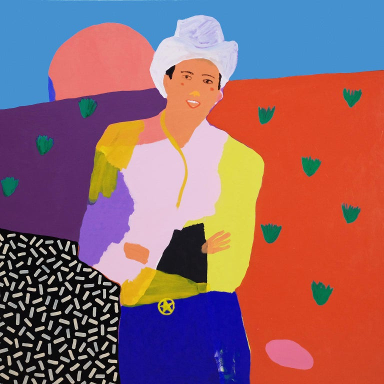 Modern 'Ray of Sunshine' Cowboy Portrait Painting by Alan Fears Pop Art For Sale