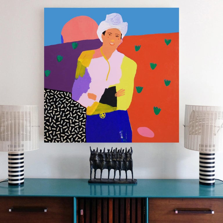British 'Ray of Sunshine' Cowboy Portrait Painting by Alan Fears Pop Art For Sale