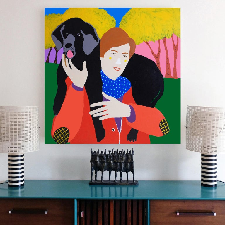 British 'Head and Shoulders above the Rest' Dog Portrait Painting by Alan Fears Pop Art For Sale