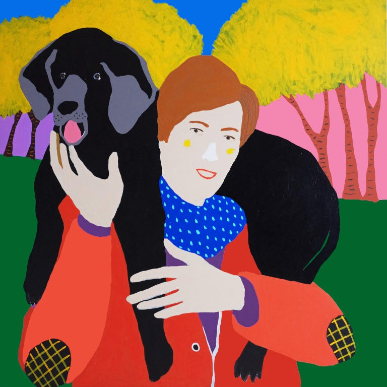 Modern 'Head and Shoulders above the Rest' Dog Portrait Painting by Alan Fears Pop Art For Sale