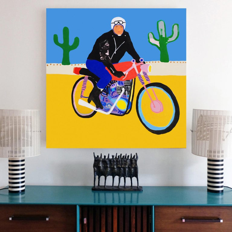 British 'Lone Wolf' Biker Portrait Painting by Alan Fears Pop Art For Sale