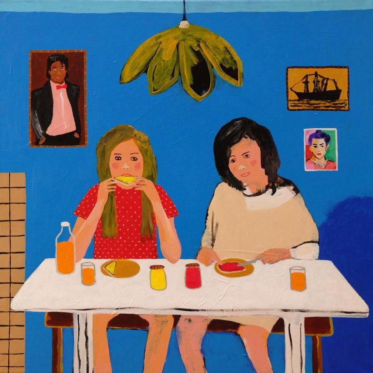 Modern 'Early Birds' Portrait Painting by Alan Fears 1980s Girls Pop Art For Sale