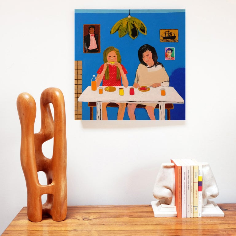 English 'Early Birds' Portrait Painting by Alan Fears 1980s Girls Pop Art For Sale