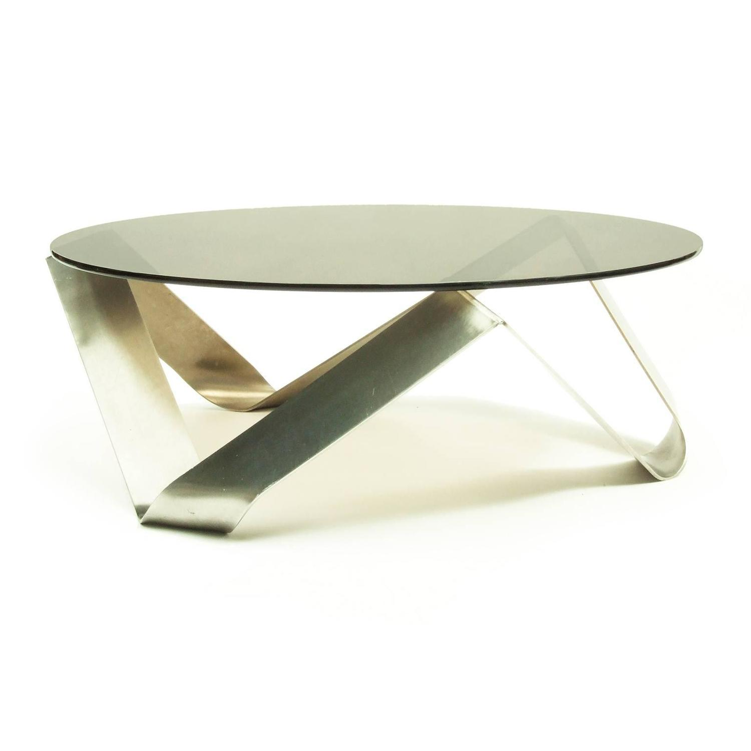 1970s French Bent Steel And Glass Coffee Table In The Style Of Monnet For Sale At 1stdibs