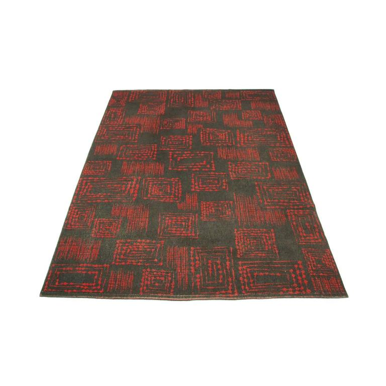 1950s Red And Grey Geometric Abstract Wool Rug For Sale At
