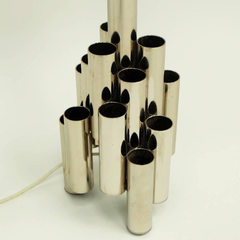 1960s Modernist Tubular Steel Italian Table Lamp Gio Ponti  2