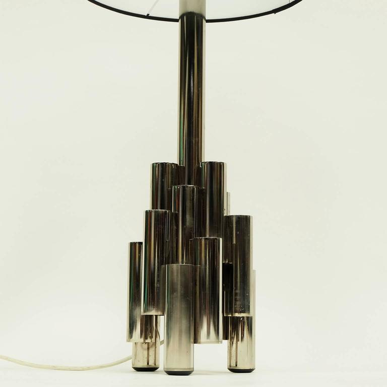 1960s Modernist Tubular Steel Italian Table Lamp Gio Ponti  3