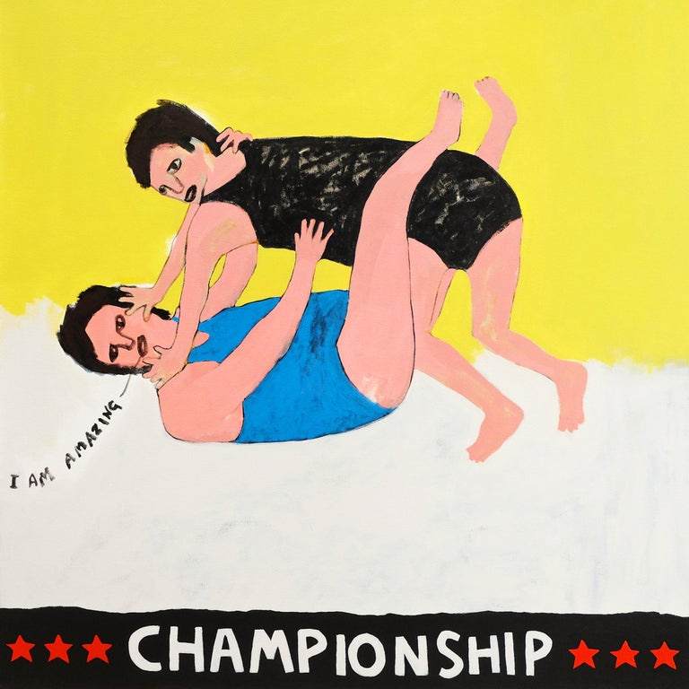 British 'Wrestle with Your Ego' Portrait Painting by Alan Fears Folk Art For Sale