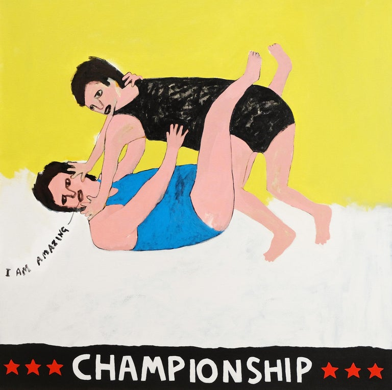 Modern 'Wrestle with Your Ego' Portrait Painting by Alan Fears Folk Art For Sale
