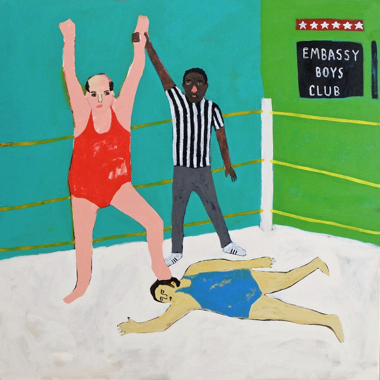 British 'Winning Is for Losers' Portrait Painting by Alan Fears Folk Art For Sale