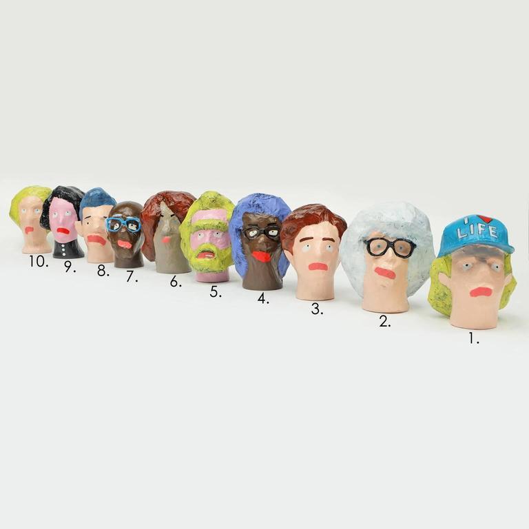 'Followers' Sculptures by Alan Fears Paper Mache Art Heads 2