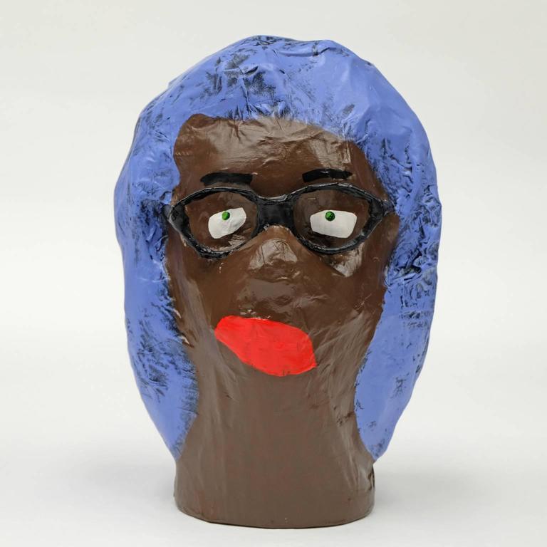 Acrylic 'Followers' Sculptures by Alan Fears Paper Mache Art Heads For Sale