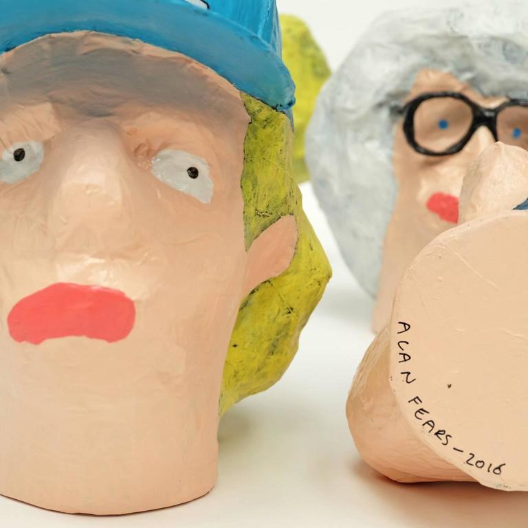 'Followers' Sculptures by Alan Fears Paper Mache Art Heads 9