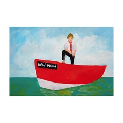'Terry Is In a Bad Mood' Painting by Alan Fears Acrylic on Paper Boat Sailing