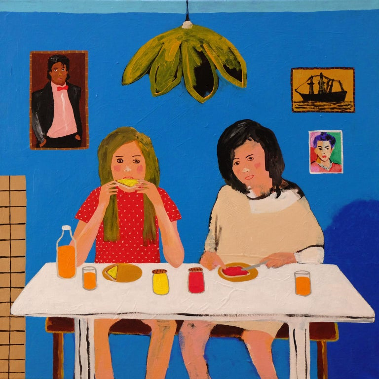 Modern 'Early Birds' Portrait Painting by Alan Fears 1980s Girls For Sale