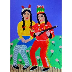 'Little Big Girls' Portrait Painting by Alan Fears Acrylic on Paper Costumes