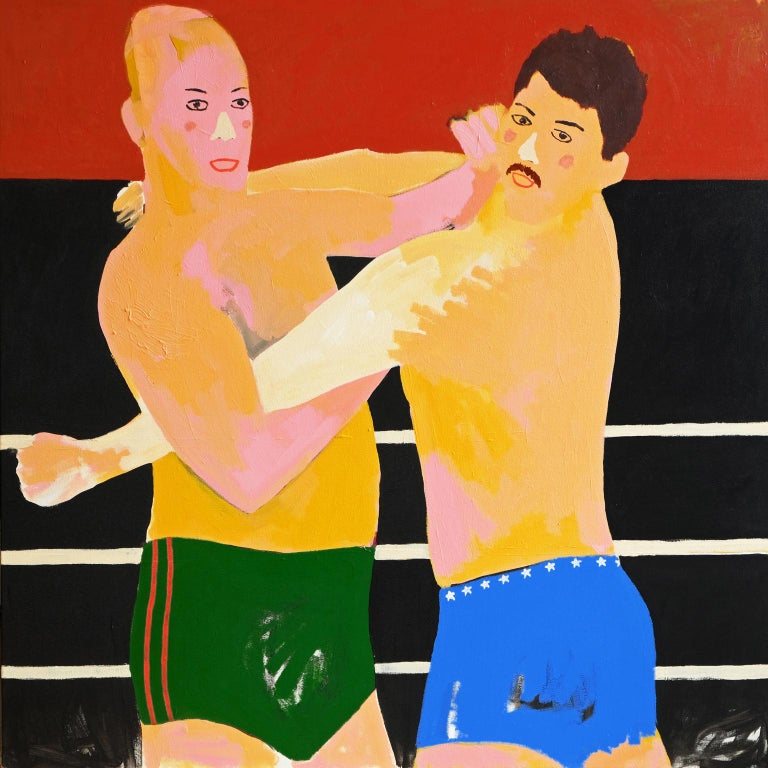 Modern 'Daddy Issues' Portrait Painting by Alan Fears Pop Art Wrestling For Sale