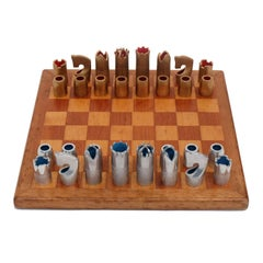 1960s Bespoke Brutalist Gold Anodised Aluminum and Rosewood Chess Set