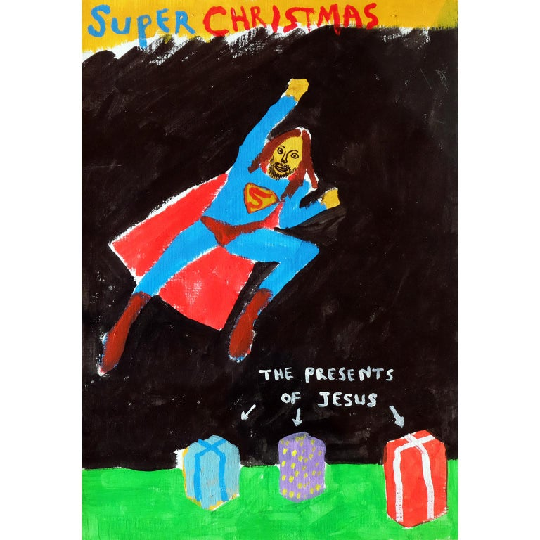 Modern 'A Super Christmas' Portrait Painting by Alan Fears Acrylic on Paper  For Sale