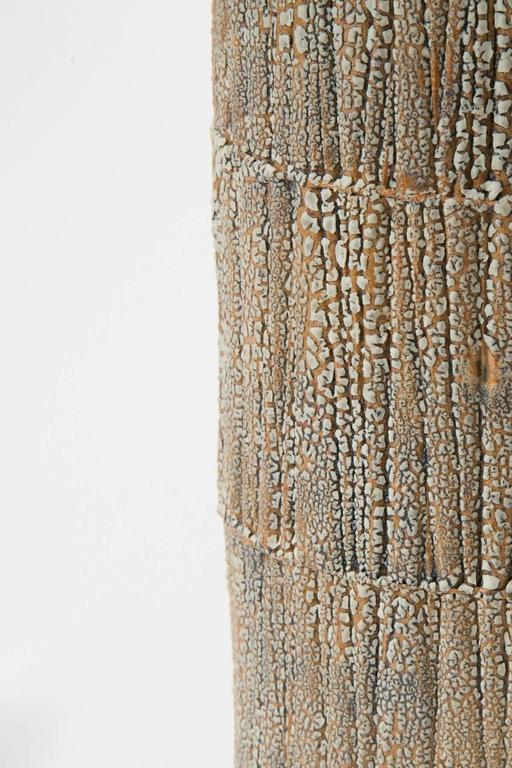Shagreen textured ceramic table lamp with brass fittings.  The shade is velum paper 13 D x 12 H.  Handmade in NYC by Gary Dipasquale for Trans-LUXE.
