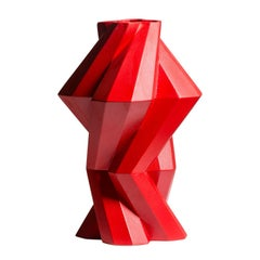 Lara Bohinc, Fortress Column Vase, Red Ceramic