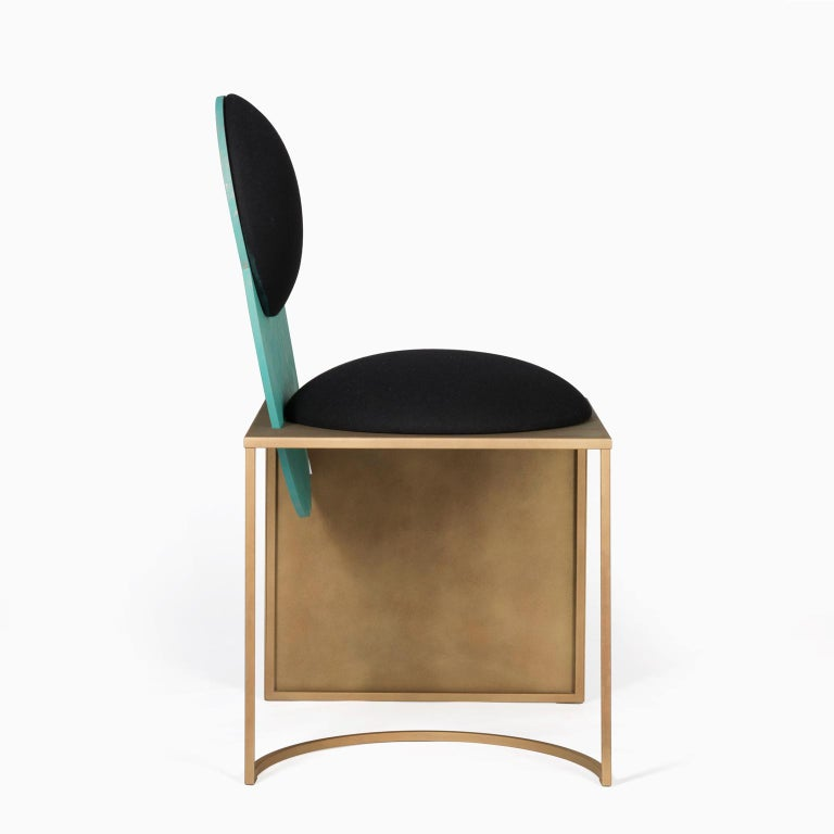 Modern Celeste Chair in Black Fabric Verdigris Copper and Steel by Lara Bohinc In Stock For Sale