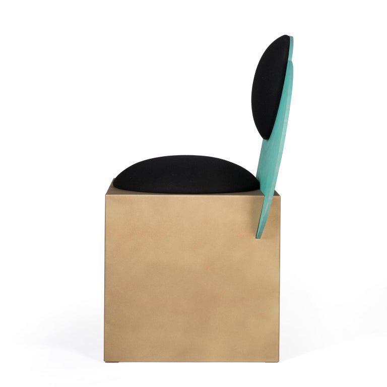British Celeste Chair in Black Fabric Verdigris Copper and Steel by Lara Bohinc In Stock For Sale