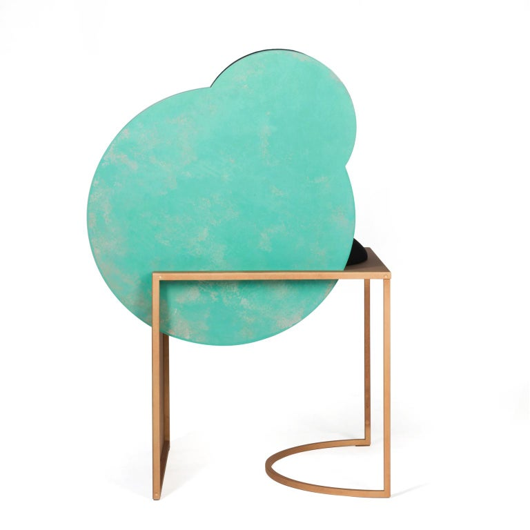 Metalwork Celeste Chair in Black Fabric Verdigris Copper and Steel by Lara Bohinc In Stock For Sale