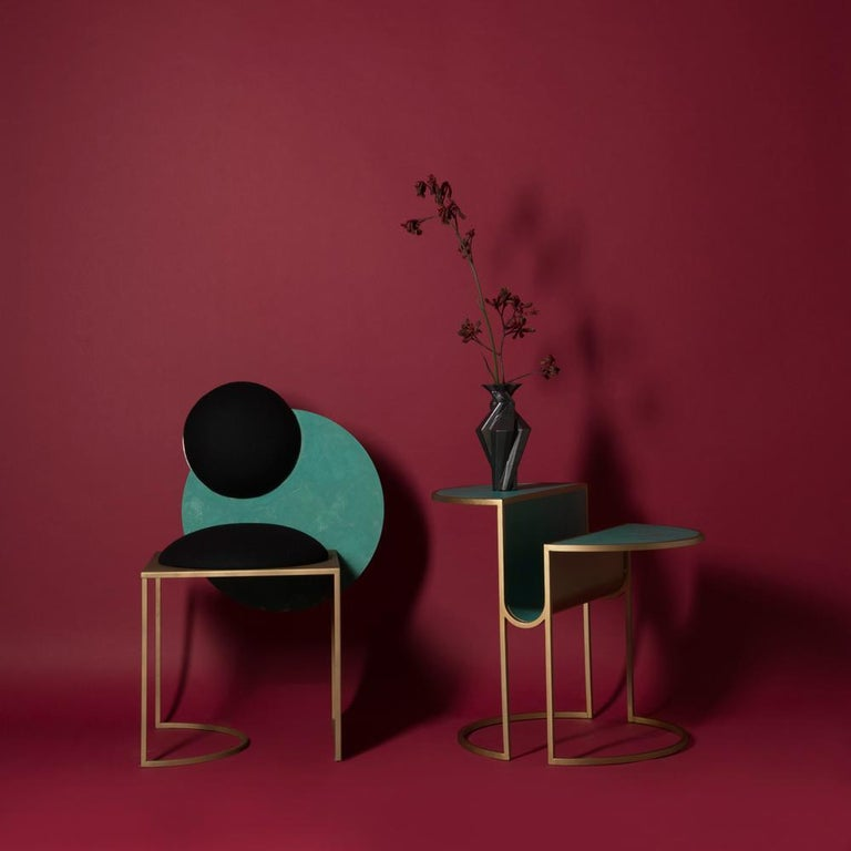 Contemporary Celeste Chair in Black Fabric Verdigris Copper and Steel by Lara Bohinc In Stock For Sale