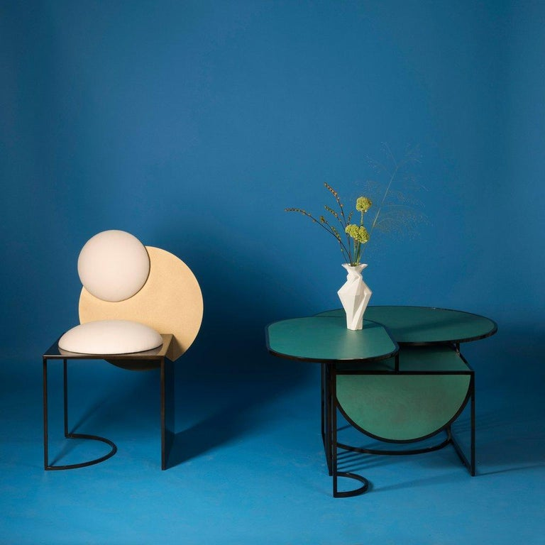 Metal Celeste Chair in Black Fabric Verdigris Copper and Steel by Lara Bohinc In Stock For Sale