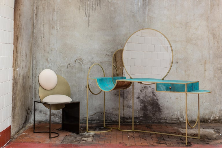 Celeste Chair in Black Fabric Verdigris Copper and Steel by Lara Bohinc In Stock For Sale 2