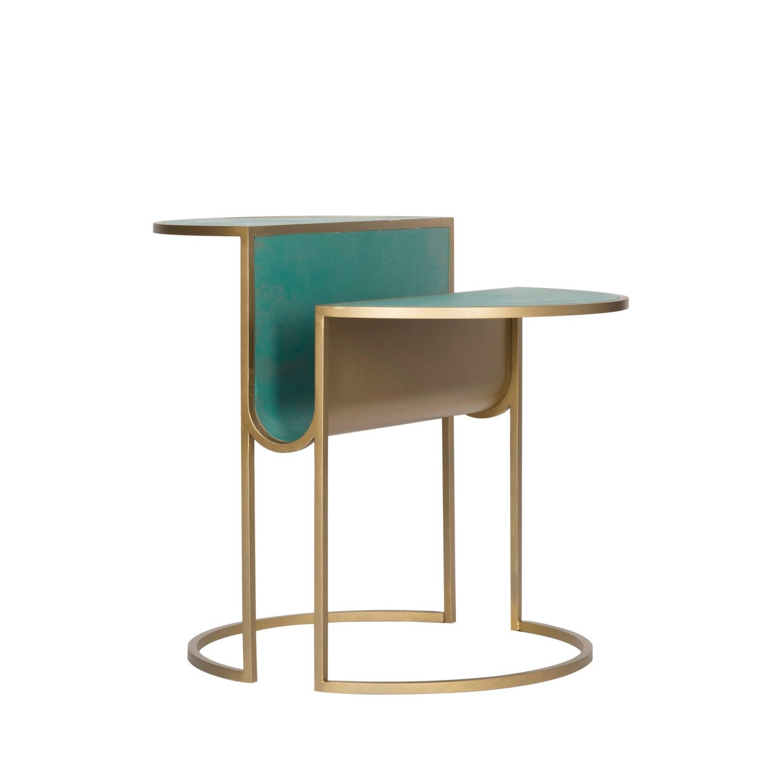 Orbit Tea Table in Verdigris Copper and Brass Coated Steel by Lara Bohinc