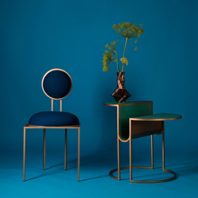 Italian Orbit Tea Table in Verdigris Copper and Coated Steel by Lara Bohinc, In Stock For Sale