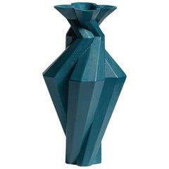 Fortress Spire Vase in Blue Ceramic by Lara Bohinc