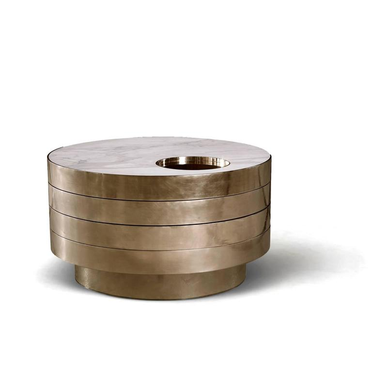 Modern Solaris Kinetic Marble and Brass Coffee Table For Sale