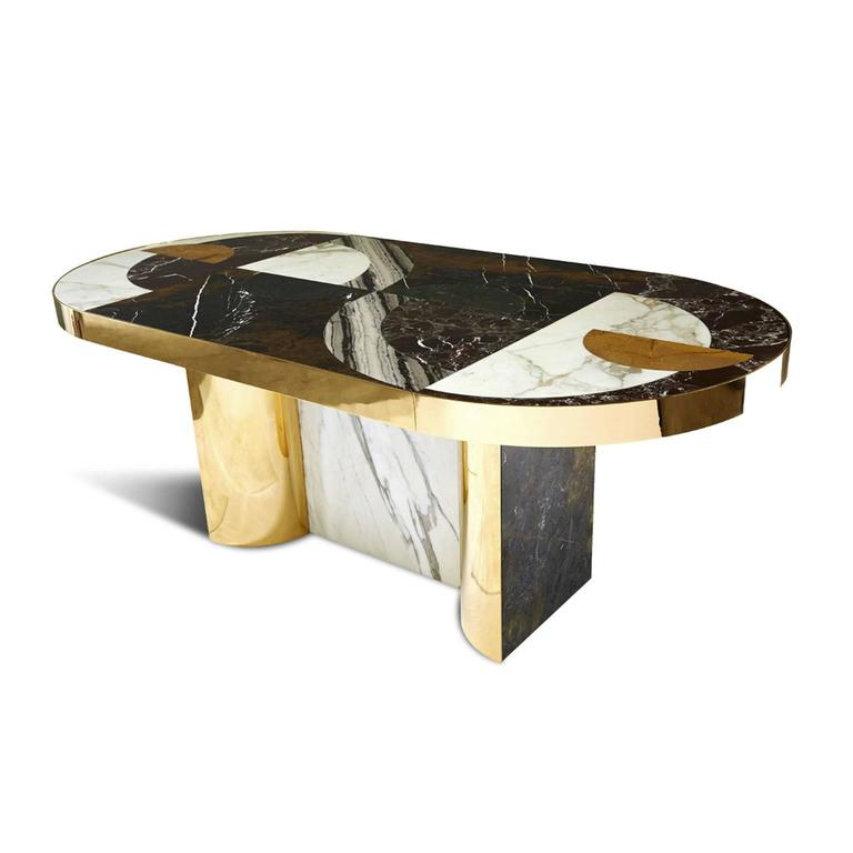 British Half Moon Dining Table, Marble and Brass, by Lara Bohinc, In Stock For Sale