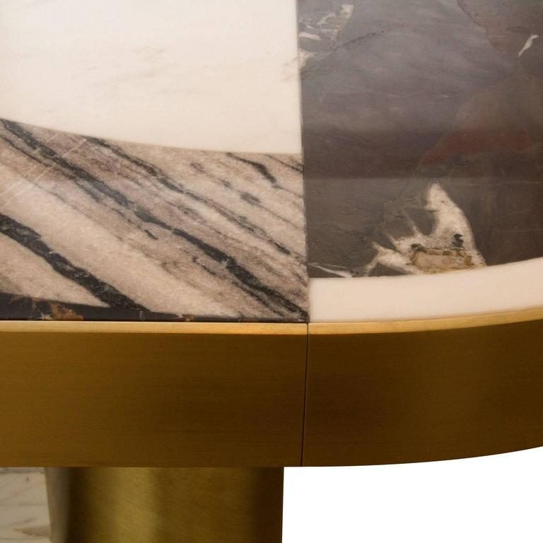 Half Moon Dining Table, Marble and Brass, by Lara Bohinc, In Stock For Sale 3