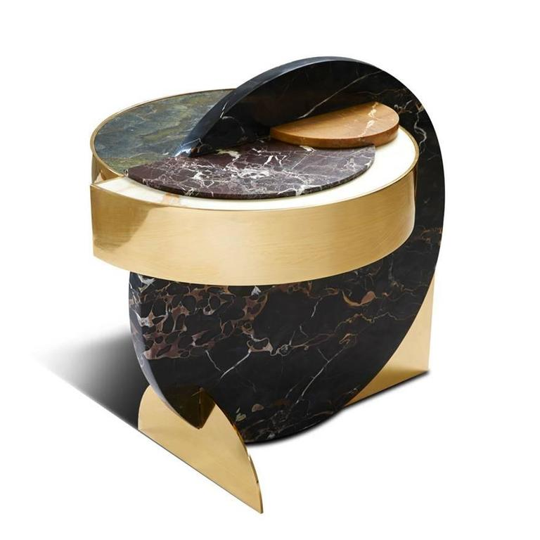 Modern Lunar Full Moon Marble and Brass Side Table, Occasional Table, Bohinc Studio  For Sale