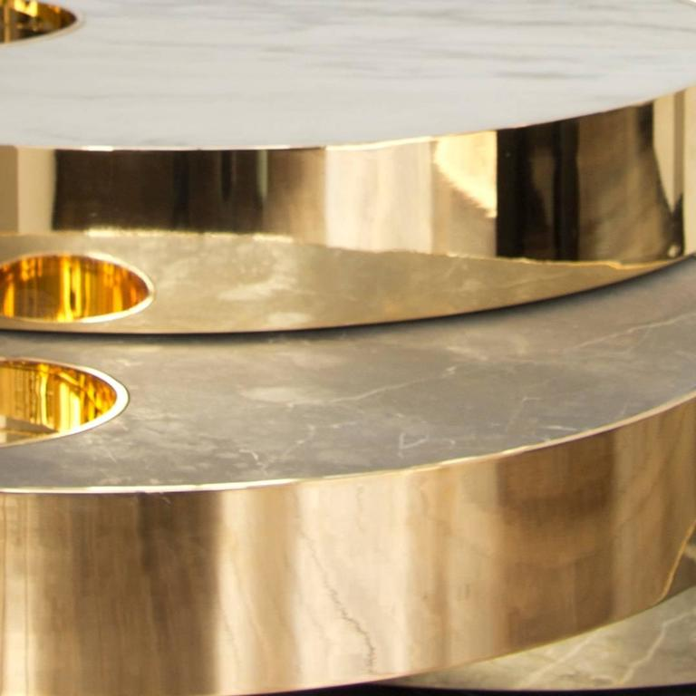 Solaris Small Kinetic Table In Marble And 18 Carat Gold