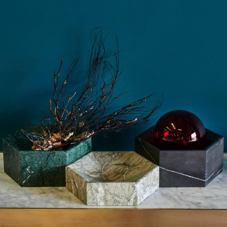 British Hexagonal Constellation Bowl, Small Low in Carrara Marble, In Stock For Sale