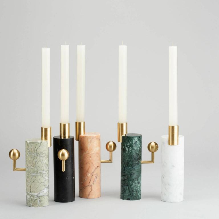 Modern Stargazer Candleholder, Carrara Marble and Brass, by Lara Bohinc, In Stock For Sale