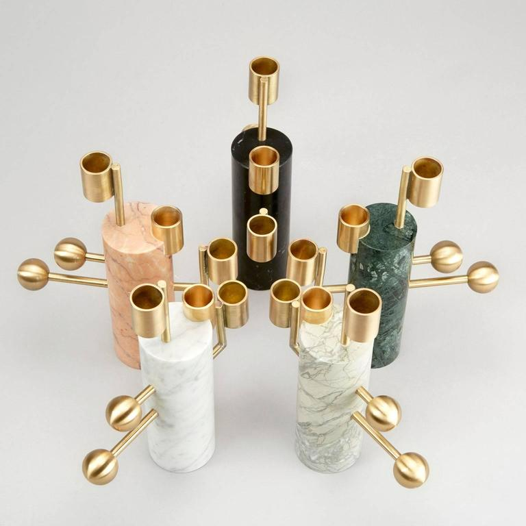 Modern Stargazer Candleholder Multi, Nero Marquina and Brass, by Lara Bohinc, In Stock For Sale