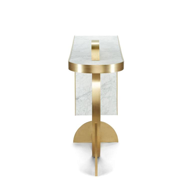 Modern The Collision Console Carrara Marble and Brushed Brass by Lara Bohinc For Sale