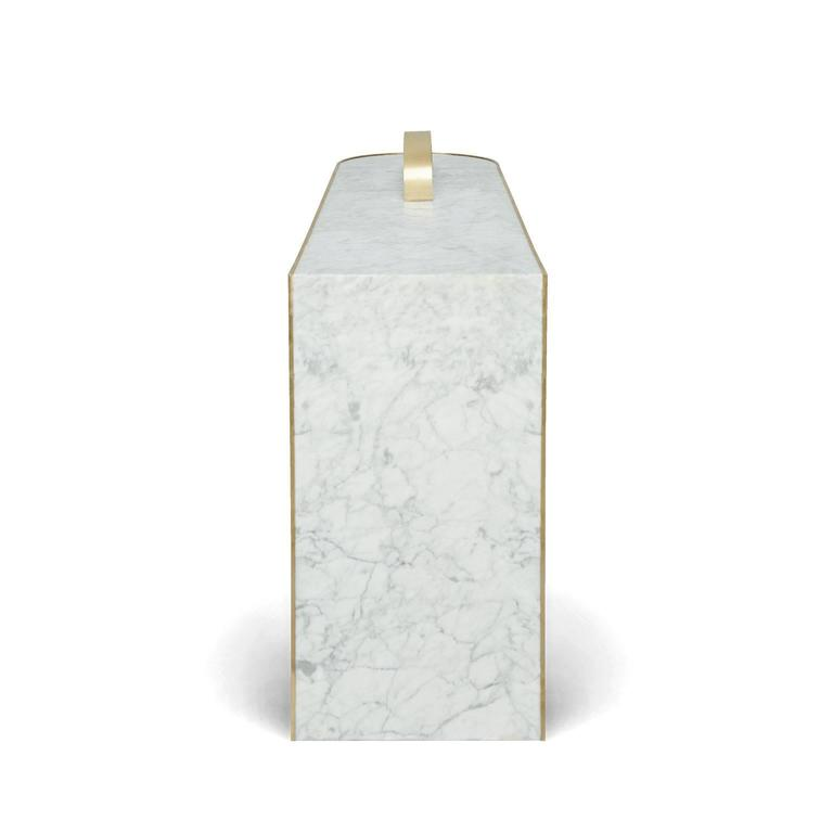 British The Collision Console Carrara Marble and Brushed Brass by Lara Bohinc For Sale
