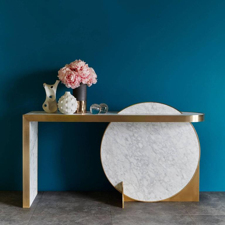 The Collision Console Carrara Marble and Brushed Brass by Lara Bohinc  In New Condition For Sale In London, GB