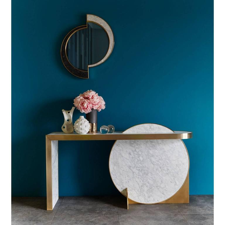 Modern Half Moon Mirror, Nero Marquina/Carrara Marble and Brushed Brass, by Lara Bohinc For Sale
