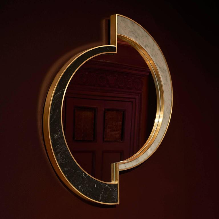 Portuguese Half Moon Mirror, Nero Marquina/Carrara Marble and Brushed Brass, by Lara Bohinc For Sale